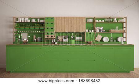 Minimalist green wooden kitchen with appliances close-up scandinavian classic interior design, 3d illustration