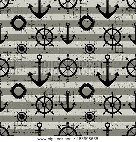 Vector Seamless Pattern Steering Wheel, Life Preserver, Anchor, Horizontal Lines Creative Geometric