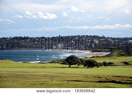 Panoramic view of the golf course from Long Reef Headland (Sydney NSW Australia). Dee Why beach in the background.