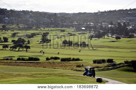 Panoramic view of the golf course from Long Reef Headland (Sydney NSW Australia).