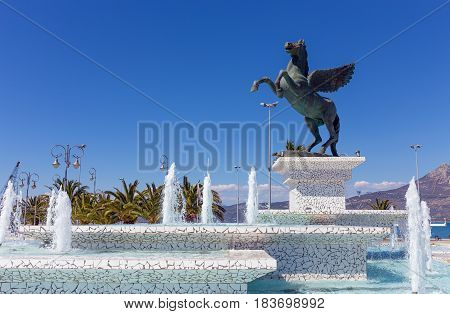 Statue of Pegasus in Corinth, Peloponnese, Greece