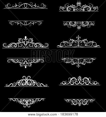 Vintage vector swirl frame set on black background