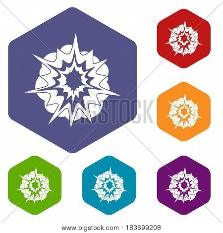 Fire explosion icons set hexagon isolated vector illustration