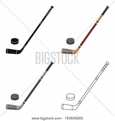 Hockey stick and washer. Canada single icon in cartoon style vector symbol stock illustration .
