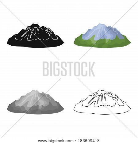 Green mountains.Mountain with snow.Different mountains single icon in cartoon style vector symbol stock web illustration.