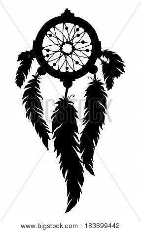 Native American Indian silhouette talisman dream catcher