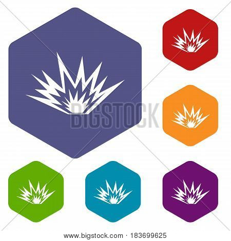 Nuclear explosion icons set hexagon isolated vector illustration