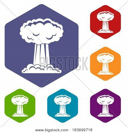 Mushroom cloud icons set hexagon isolated vector illustration