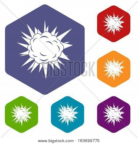 Terrible explosion icons set hexagon isolated vector illustration
