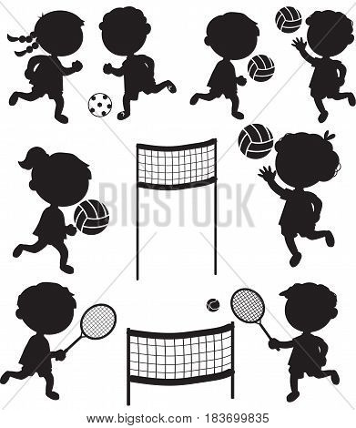 Eight sport black icons. Children playing tennis soccer and volley ball.