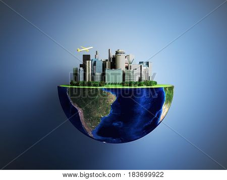 Urbanization Concept With Globe And City On Abstract Green Background 3D Rendering On Blue