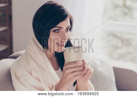 Weekends! Cute Girl Is Drinking Her Coffee At Home, Covered By Blanket. She Feels So Good And Cozy
