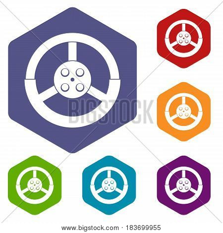Steering wheel icons set hexagon isolated vector illustration