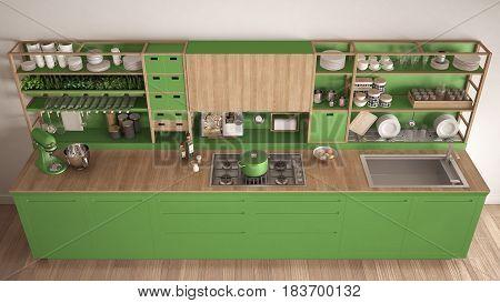 Minimalist green wooden kitchen with appliances close-up scandinavian classic interior design top view, 3d illustration