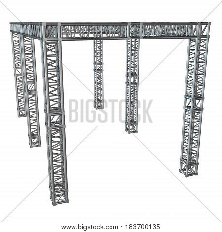 Steel truss girder rooftop construction. 3d render isolated on white