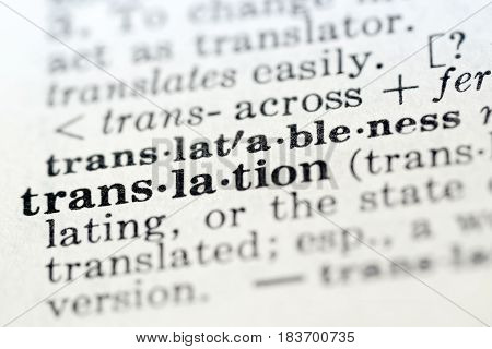 Definition of word translation in dictionary selective focus