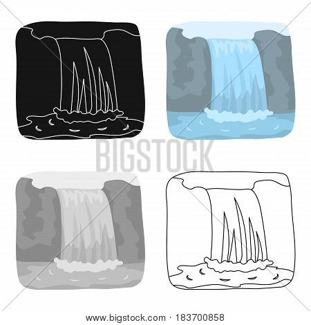 Canadian waterfall. Canada single icon in cartoon style vector symbol stock illustration .