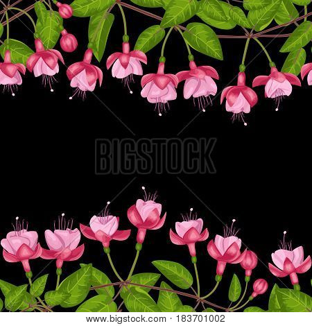 Pink fuchsia seamless double border on black background. Template for postcards, greeting cards, wedding invitations with place for text. Vintage floral wallpaper.