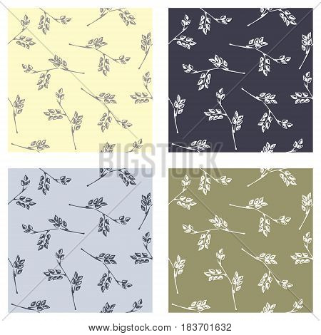 Set Of Seamless Vector Patterns, Hand Drawn Backgrounds With Branch And Leaves. Hand Sketch Drawing.