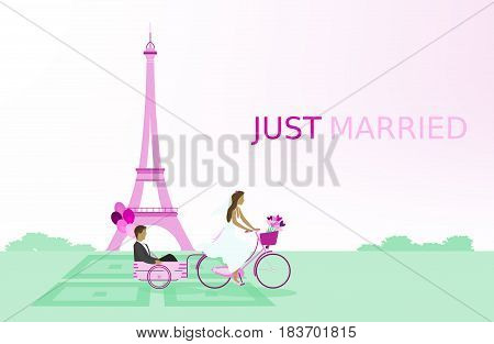 Just married - wedding. Bridal couple with bicycle in Paris and with balloons. Pink shade.