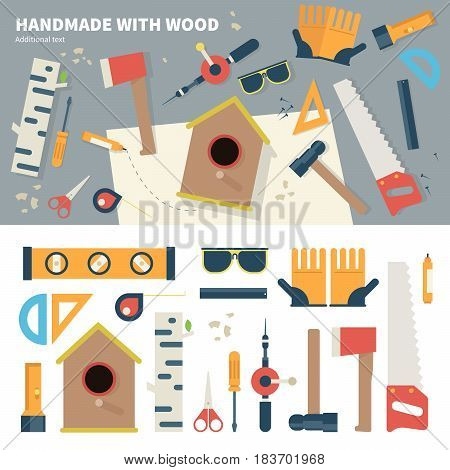 Geometric illustartion of tools for handmade things. Set of equipment for handmade with wood in the garage. Different tools, hammer, ax, saw, rubber gloves and nestling box isolated on white background