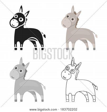 Donkey icon cartoon. Singe animal icon from the big animals monochrom Stock vector