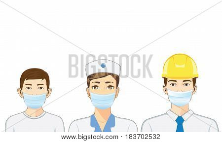 Nurse and kid and engineer wearing breath mask on isolated.