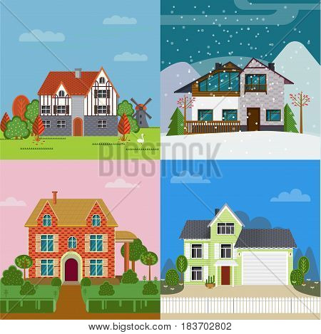 Colorful suburban cottages flat concept of different architecture and construction in various seasons vector illustration
