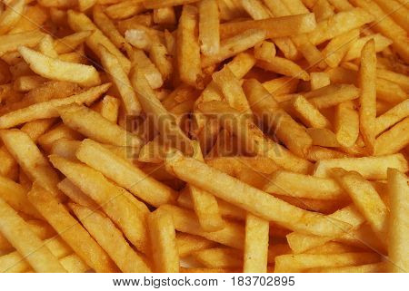 Fastfood Fried Potato Pieces Closeup For Background