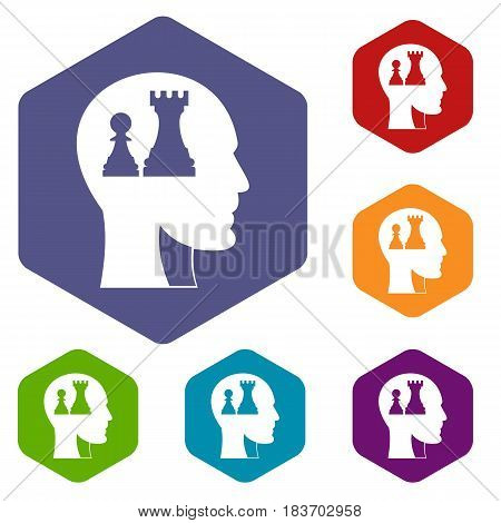 Head with queen and pawn chess icons set hexagon isolated vector illustration