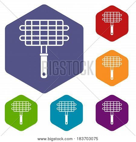 Stainless barbecue grill camping basket icons set hexagon isolated vector illustration