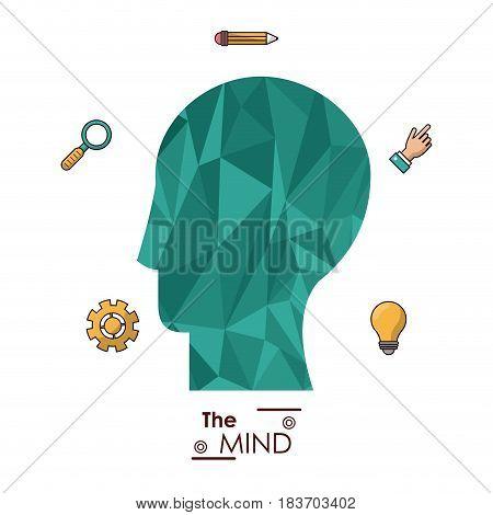 the mind human head abstract creative idea innovation vector illustration