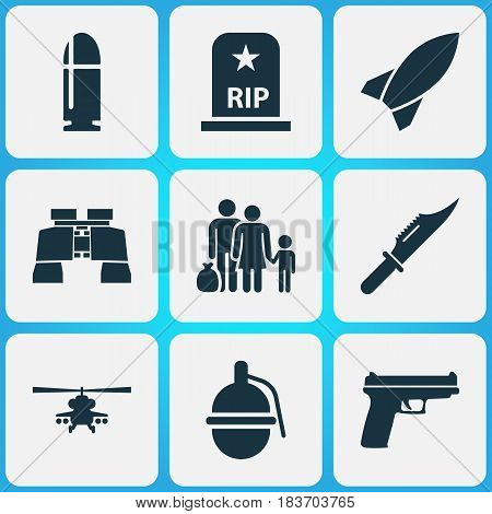 Combat Icons Set. Collection Of Missile, Glass, Slug And Other Elements. Also Includes Symbols Such As Refugee, Nuclear, Tomb.