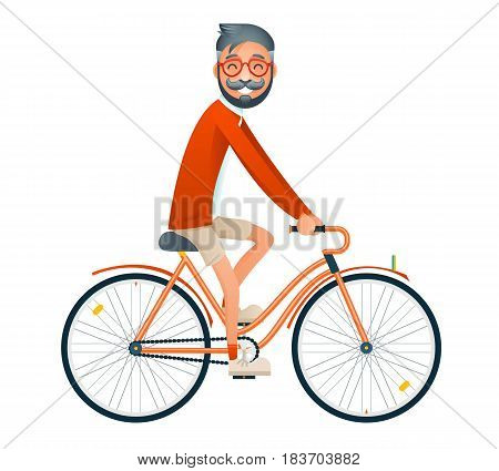 Bicycle Ride Geek Hipster Travel Lifestyle Concept Tourism Journey Symbol Man Bike Isolated Flat Template Design Vector Illustration