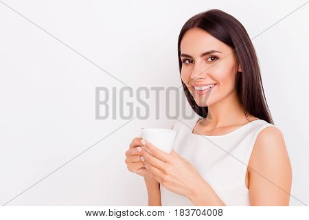 Close Up Portrait Of Young Successful Businesslady On A Coffee Break, She Is Resting And Enjoying Th