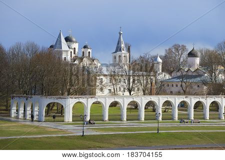 April day in Yaroslav's court. Veliky Novgorod, Russia