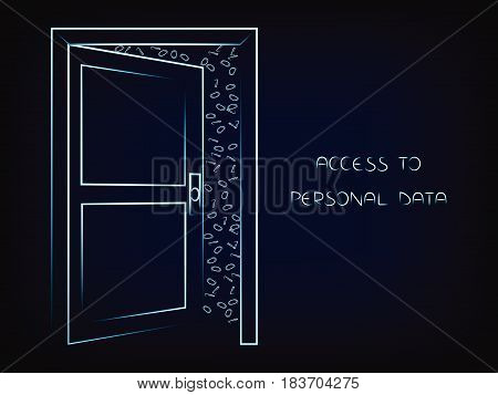 open door with text Personal Data on and messy binary code behind it internet security vector illustration on mesh background