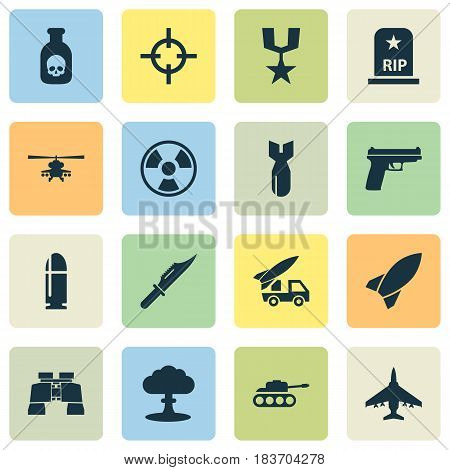 Combat Icons Set. Collection Of Cutter, Missile, Aircraft And Other Elements. Also Includes Symbols Such As Order, Missile, Danger.