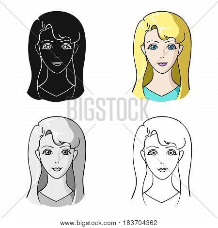 Avatar girl with white hair.Avatar and face single icon in cartoon style vector symbol stock web illustration.