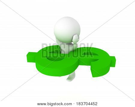 3D Character Stuck In Giant Green Dollar Symbol