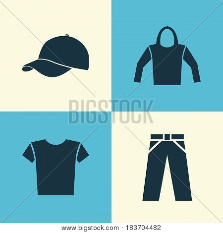 Dress Icons Set. Collection Of Pants, Casual, Sweatshirt And Other Elements. Also Includes Symbols Such As Trilby, Pants, Cap.