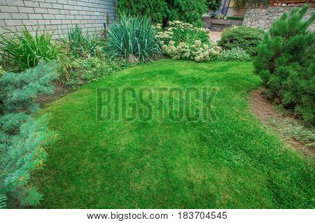 Front Yard Landscaping. A beautifully manicured front yard with a garden full of perennials and annuals. Lawn