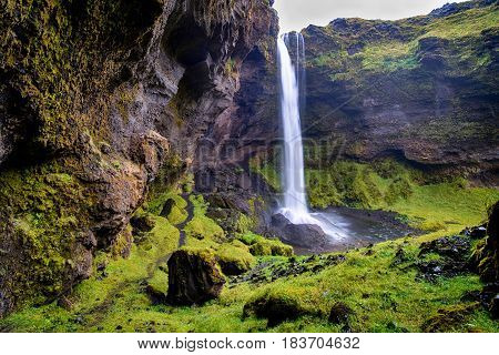 Famous and great Kvernufoss waterfall in Iceland
