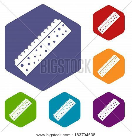 Sponge for cleaning icons set hexagon isolated vector illustration