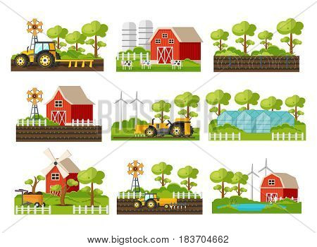 Farming elements set with agricultural vehicles house barn windmill trees cows fields greenhouse irrigation system isolated vector illustration