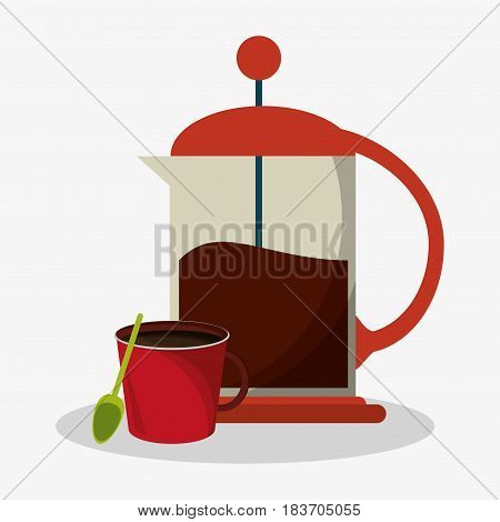 set coffee grinding jar with crank and mug of coffee vector illustration