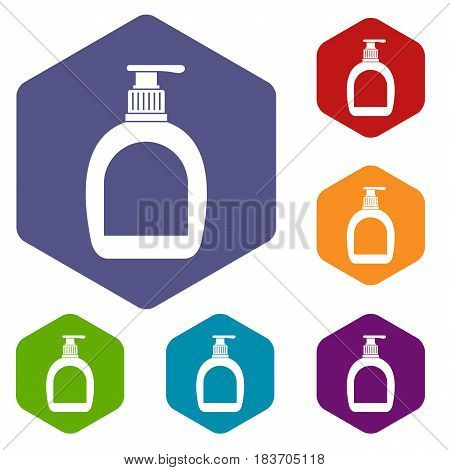 Bottle with liquid soap icons set hexagon isolated vector illustration