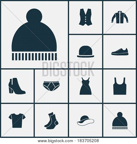 Garment Icons Set. Collection Of Dress, Sneakers, Half-Hose And Other Elements. Also Includes Symbols Such As Ski, Shoes, Garment.