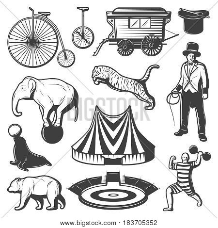 Vintage circus elements collection with animals trainer strongman bicycle unicycle wagon marquee arena magic hat wand isolated vector illustration