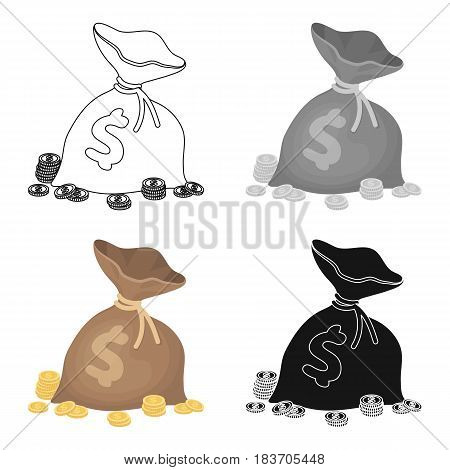A brown bag with coins and dollars. Win in the casino.Kasino single icon in cartoon style vector symbol illustration.